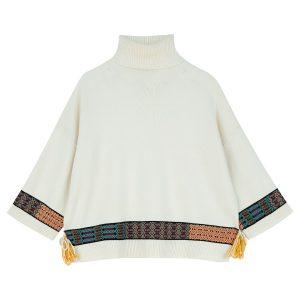 Etro White Poncho-Pullover
