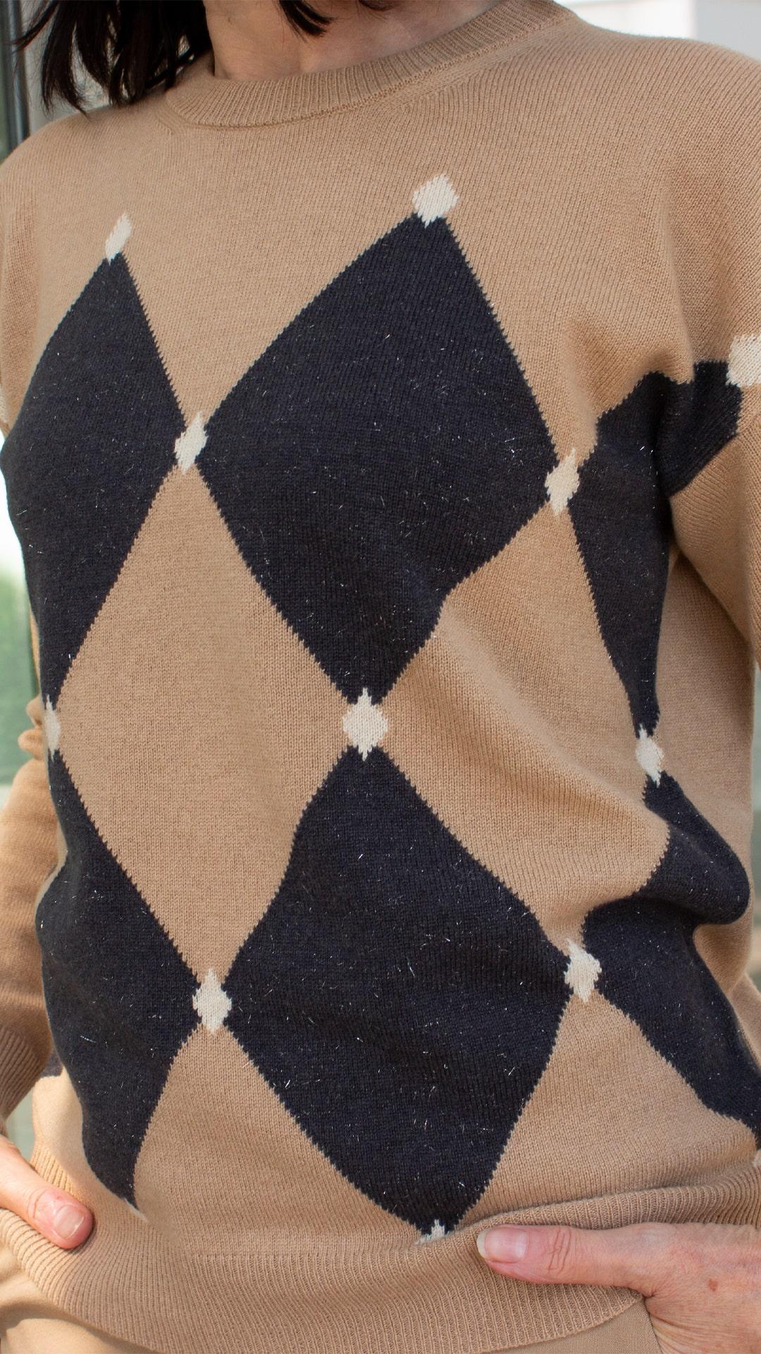 Peserico Rauten Pullover camle -anthra